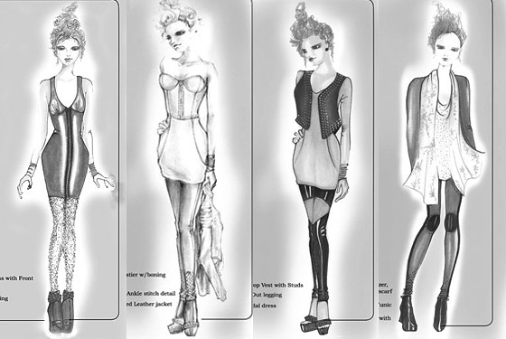 sketches of dresses. Sketches by Lindsay Lohan