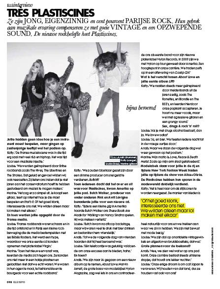 Les Plastiscines in Elle Magazine plus a new single!